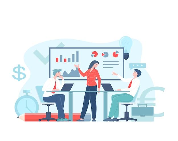 Business workflow or teamwork process concept flat illustration