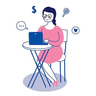 テーブルの上のビジネス働く女性とラップトップ。