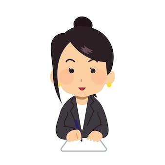 서류 작업을 하는 비즈니스 일하는 여성