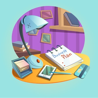 Business workplace concept with desk and office items retro cartoon style
