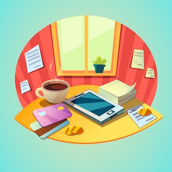 Business workplace concept with tablet and office items in retro cartoon style