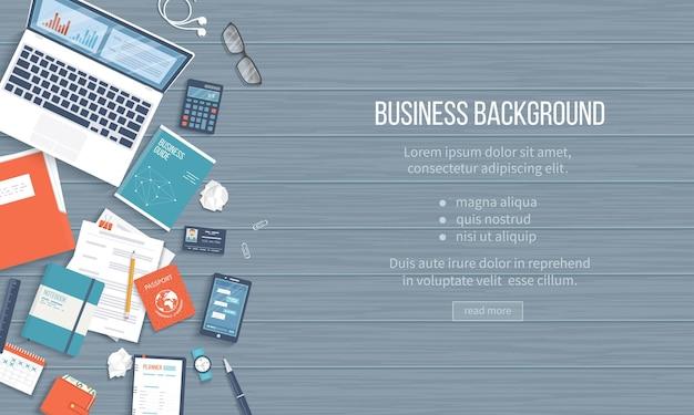 ビジネスワークプレイスデスクトップの背景テーブルラップトップフォルダドキュメントメモ帳の上面図