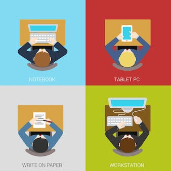 Business workplace flat concepts illustrations set. businessman manager workspace.