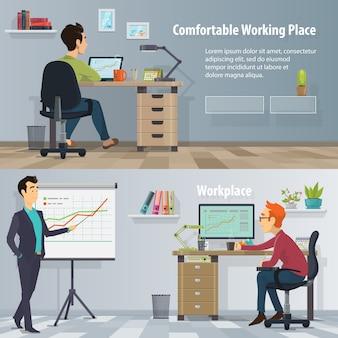 Горизонтальные баннеры на рабочем месте для бизнеса с работающими занятыми людьми в современном удобном офисе