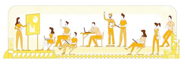 ビジネスワークショップシルエットイラスト。学生と教師のプレゼンテーション、同僚は黄色の背景に文字を概説します。コーポレートコーチング、チームブリーフィングシンプルスタイル描画