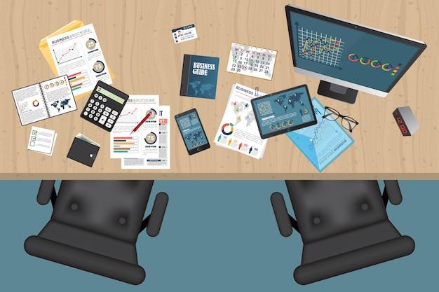 Бизнес вид сверху иллюстрации вид сверху
