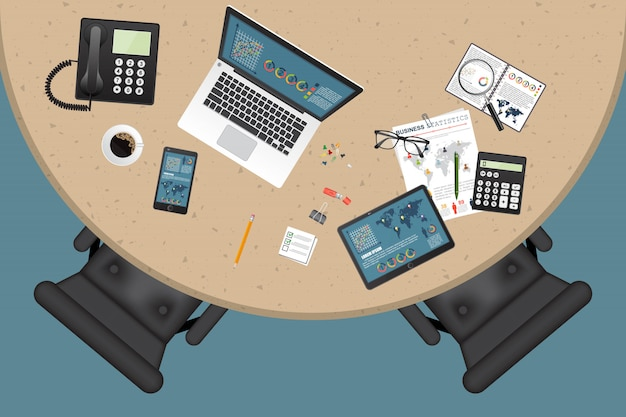 Business workspace top view illustration
