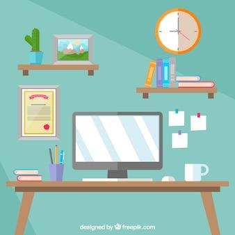 Рабочее пространство для бизнеса с плоской конструкцией