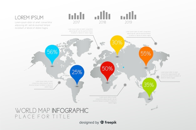 Business world map infographic