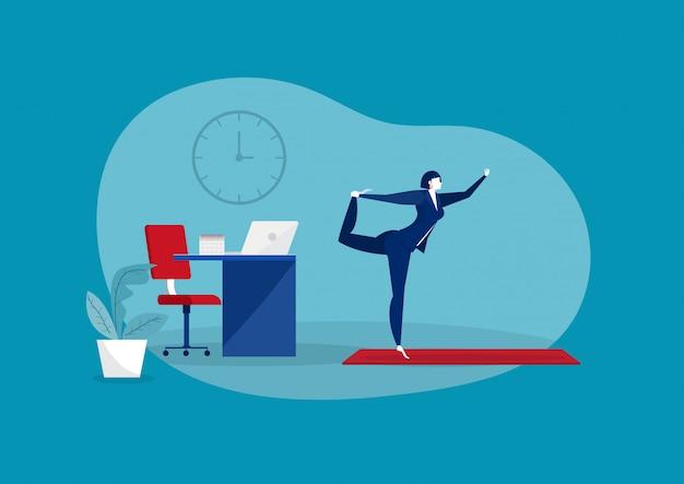ビジネスヨガの概念。テーブルのベクトルで瞑想実業家。