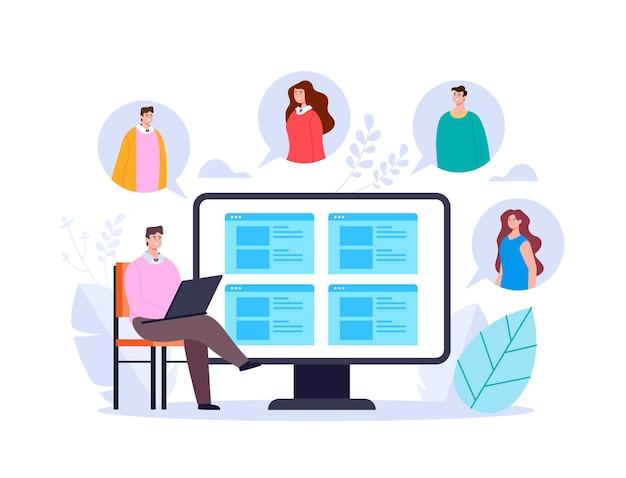 인터넷 온라인 웹 앱으로 동료와 이야기하는 businessan 회사원. bsiness 화상 회의 머물 집 adstract 그림