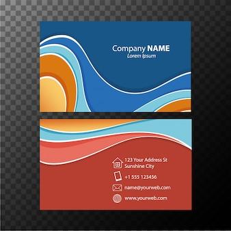Шаблон визитной карточки с синими и оранжевыми цветами