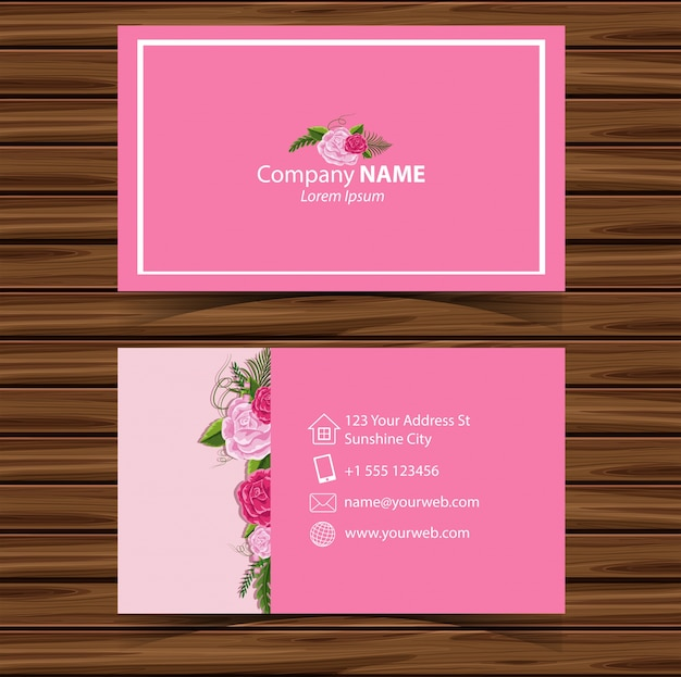 Businesscard template with pink roses in background