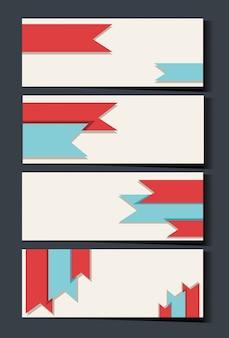 빨간색과 파란색 리본으로 명함 서식 파일 무료 벡터