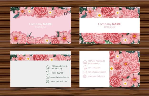 ピンクのバラの正面と背面のビューの名刺テンプレート Premiumベクター