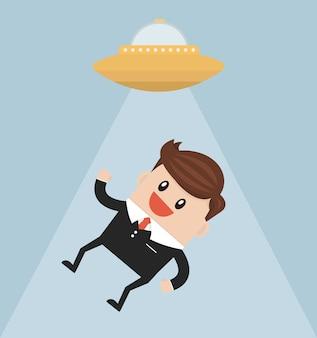 Businessman abducted by ufo flat design