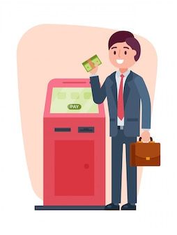 Businessman add cash dollar atm, male character topped up currency account teller machine isolated on white,   illustration.
