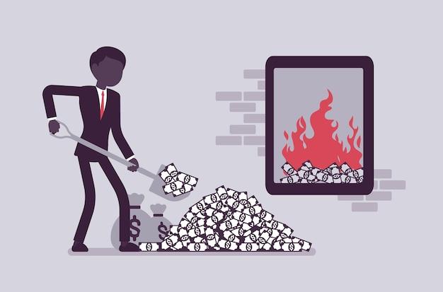 Бизнесмен подливает денежное топливо в большой закрытый огонь. менеджер копает деньги, сжигая лопату, тратит зарплату или вкладывает бюджет в рискованный проект, опасность. векторная иллюстрация, безликие персонажи