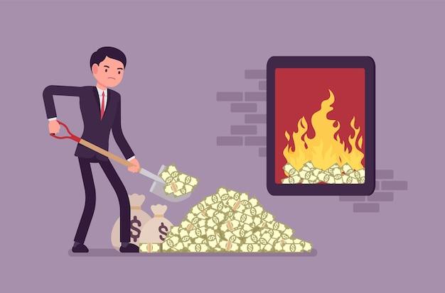 大規模な閉じた火にお金の燃料を追加するビジネスマン