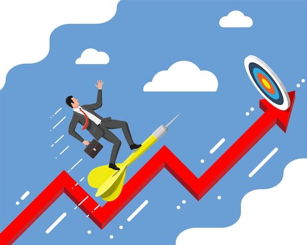 ビジネスマンはターゲットに矢印を目指します。目標の設定。スマートゴール。ビジネスターゲットの概念。達成と成功。フラットスタイルのベクトル図