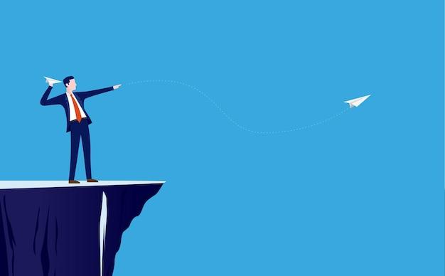 절벽에서 종이 비행기를 목표로하는 사업