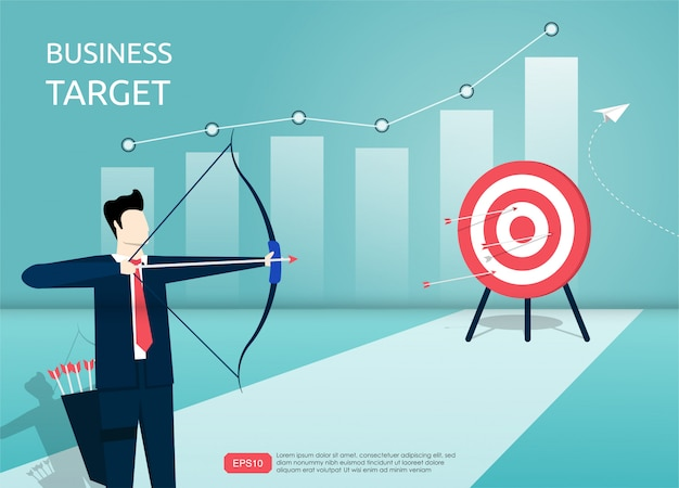 Businessman aiming the target with arrow. man character shooting at the target.