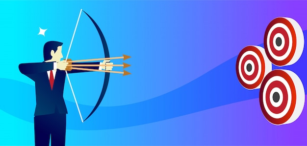 Businessman aiming target with bow and arrow