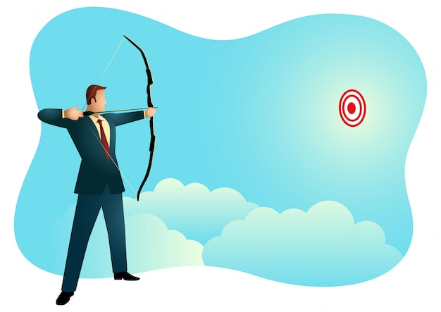Businessman aiming target