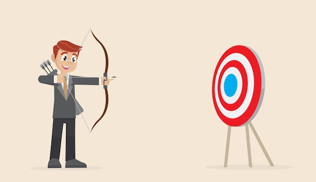 Businessman aiming in target.