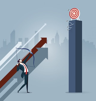 Businessman aiming the target