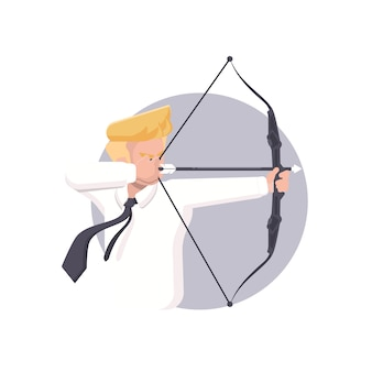 Бизнесмен, направленный на цель с луком и стрелами