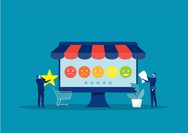 Businessman analysis from customer feedback concept. illustration