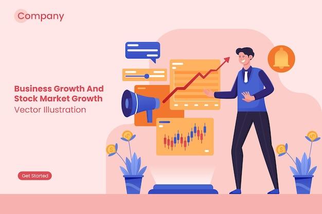Бизнесмен анализирует рост бизнеса и рост фондового рынка