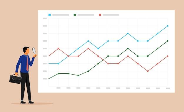 虫眼鏡で成長チャートのシンボルを分析するビジネスマン。ビジネスデータ分析と監視ベクトルの図。