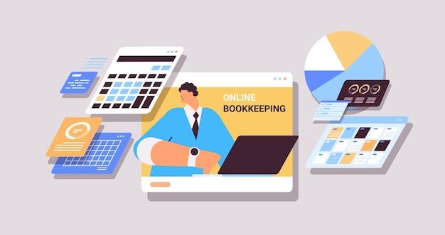 Бизнесмен анализирует статистические данные финансовый бухгалтер онлайн бухгалтерия