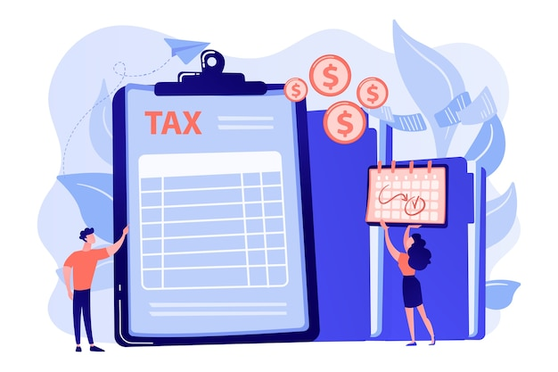 사업가 및 회계사 클립 보드 및 지불 날짜에 금융 문서 양식을 작성합니다. 세금 양식, 소득세 신고, 회사 세금 납부 개념 그림