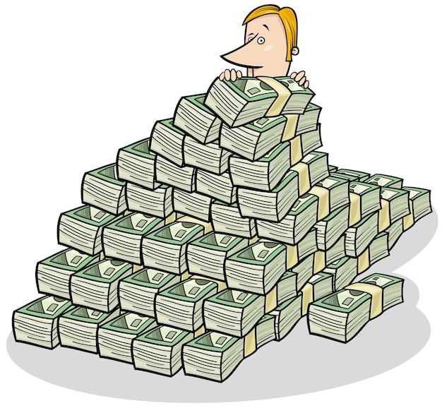 Бизнесмен и большая куча денег концепции мультфильм Premium векторы
