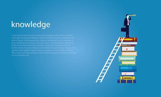 Бизнесмен и книги. концепция бизнес-образования для бизнеса