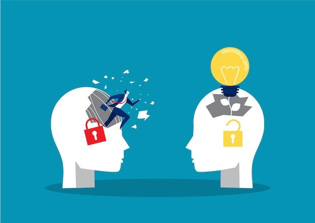 ビジネスマンおよび画期的な固定思考コンセプトビジネス