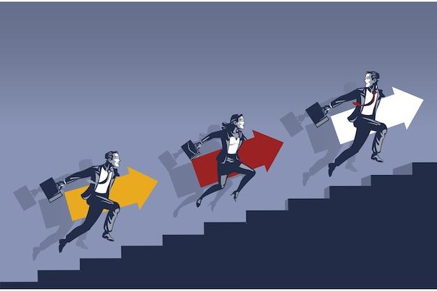 Бизнесмен и деловая женщина, бегущая по лестнице в гонке за более высокое положение иллюстрации концепции