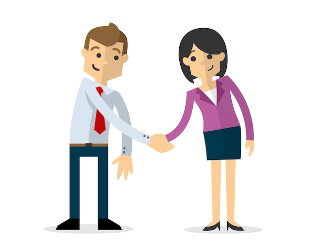 Бизнесмен и бизнес женщина, рукопожатие друг друга