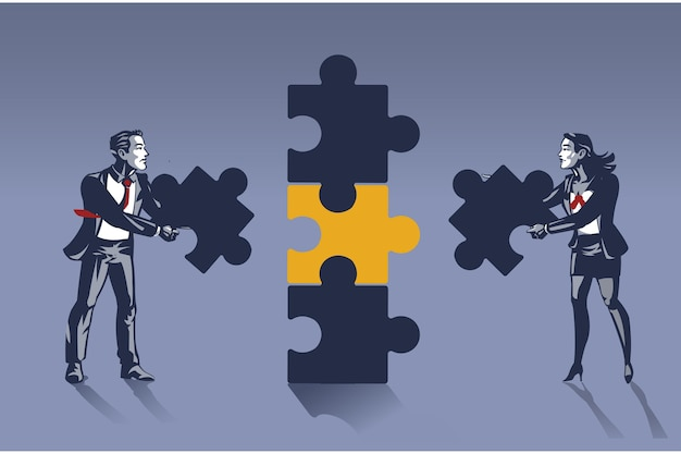 Бизнесмен и деловая женщина работают вместе, чтобы решить огромную головоломку с синим воротником