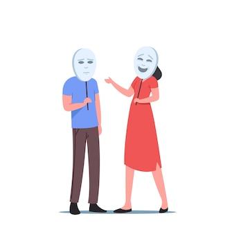 실제 감정을 숨기는 마스크 아래에 얼굴을 숨기고 있는 사업가 및 사업가 캐릭터. 거짓된 감정, 부정직