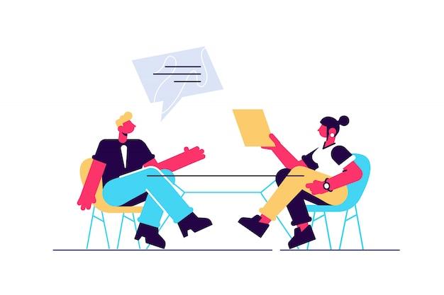 ビジネスマンやビジネスウーマンの議論と音声バブルイラスト。同僚、チームワーク、ビジネス会話、人事マネージャー、従業員のコンセプト。白い背景で隔離されました。