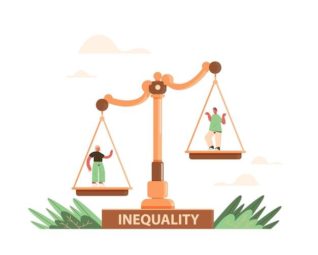 ビジネスマンやビジネスウーマンの規模でビジネス企業の不平等の概念性別男性対女性の不平等な機会