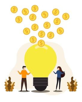 電球とコインの山を持つ実業家と実業家。白熱電球を持った男性と女性。
