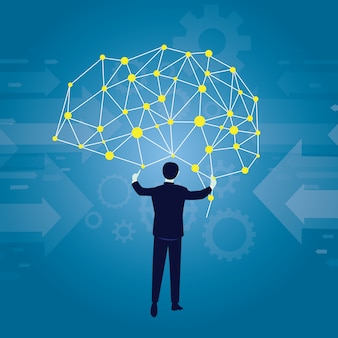 Businessman and Cloud Computing Links