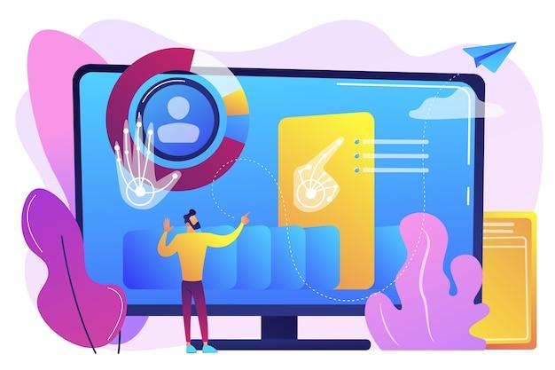 ビジネスマンとコンピューターは、人間のgesuresをコマンドとして認識して解釈します。ジェスチャ認識、ジェスチャコマンド、ハンズフリー制御の概念。明るく鮮やかな紫の孤立したイラスト