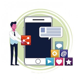 Бизнесмен и цифровой маркетинг со смартфоном