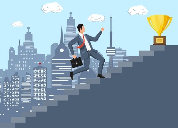 Бизнесмен и золотой трофей на лестнице успеха. награда, победа, цель, чемпионское достижение. успех в бизнесе, триумф, цель. рост в карьере. победа в конкурсе. векторная иллюстрация плоский стиль